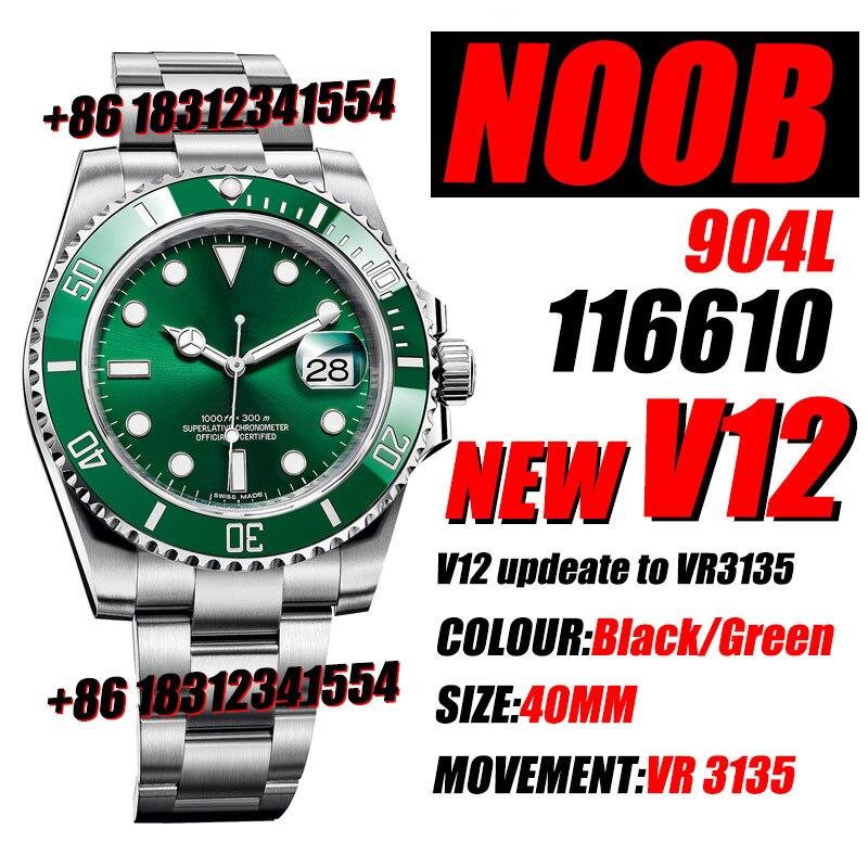 Men's Mechanical Watch 116610 Black/Green Ceramic Noob 1:1 Best  904L Stainless Steel Case and Bracelet New VR3135 V12 Watch