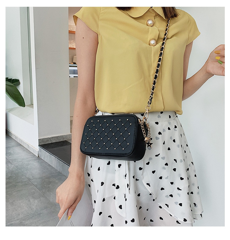 Mujeres 2019 Chaozhou versión coreana Baitao bolsa oblicua ins cadena simple moda pequeña bolsa cuadrada