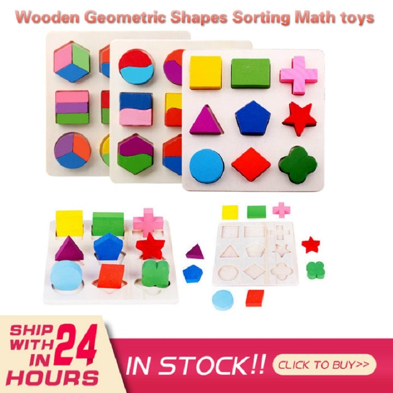 Wooden Geometric Shapes Sorting Math Puzzle Learning Preschool Educational Toddler Baby Play Toys For Children Montessori Gift