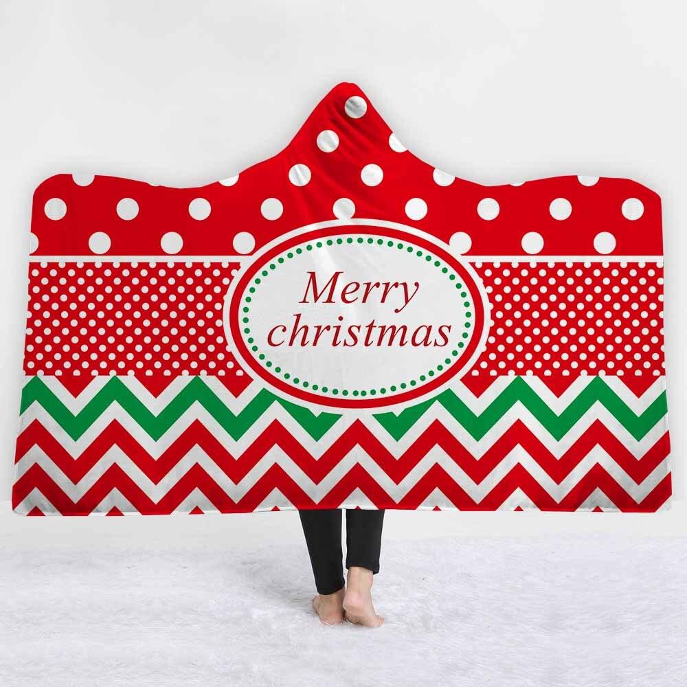 ¡Novedad de 2019! Manta con capucha navideña de feliz Festival festivo de Sytle, manta de lana cálida de invierno para Papá Noel, manta