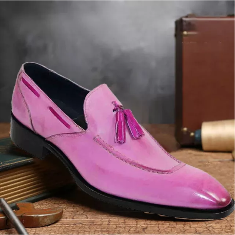 Handmade Trend Retro Men's Tassel Loafers British Business Casual Leather Shoes with A Pedal Zapatos