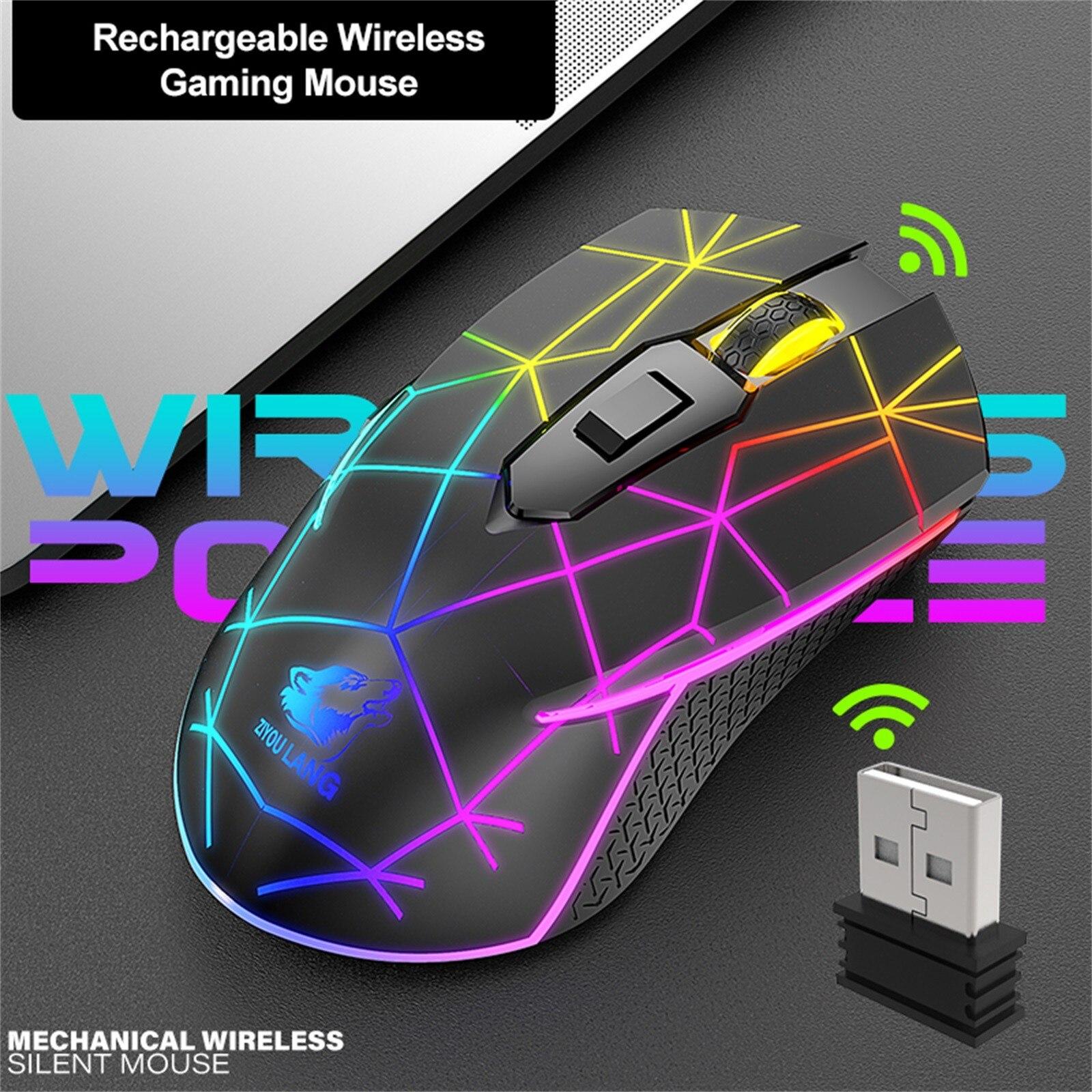 X9 اللاسلكية RGB الألعاب ماوس قابلة للشحن الصامت 2400 ديسيبل متوحد الخواص قابل للتعديل التوصيل والتشغيل 7 ألوان RGB تنفس ضوء الفئران البصرية