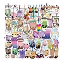 Paquete de pegatinas de dibujos animados para chica, calcomanías de Boba con dibujos de perlas, leche, té, burbujas, para DIY, papelería, equipaje, portátil, 10/50 Uds.