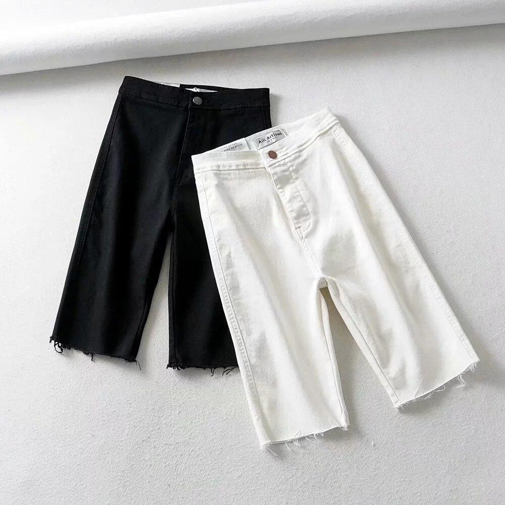 Джинсы женские летние брюки женские до колен короткие брюки с высокой талией женские облегающие байкерские прямые женские брюки 2020