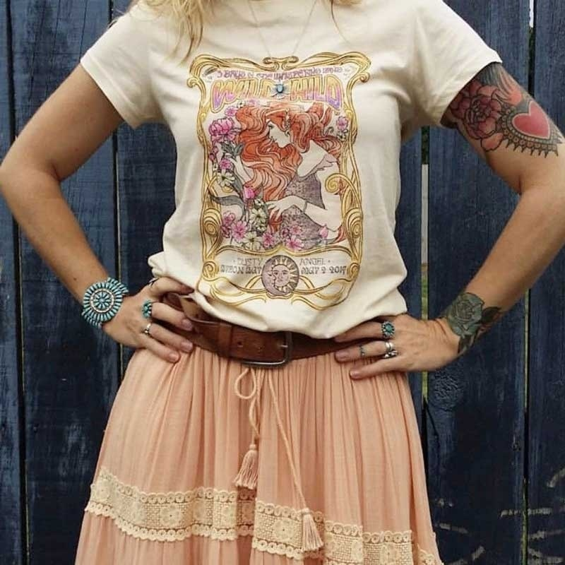 Kuakuayu HJN WILD CHILD Duty Angel Printed Khaki T Shirt Boho Gypsy Girl Print T-shirt Tops Cotton Apricot Bohemian Top