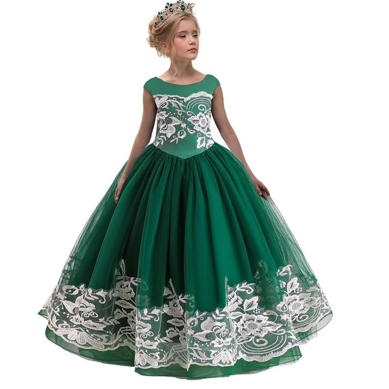 2020 Summer Girl Vintage Dress Kids Dresses For Girls Flower Princess Dress Backless Long Party Wedding Children Dress 4-14 Year