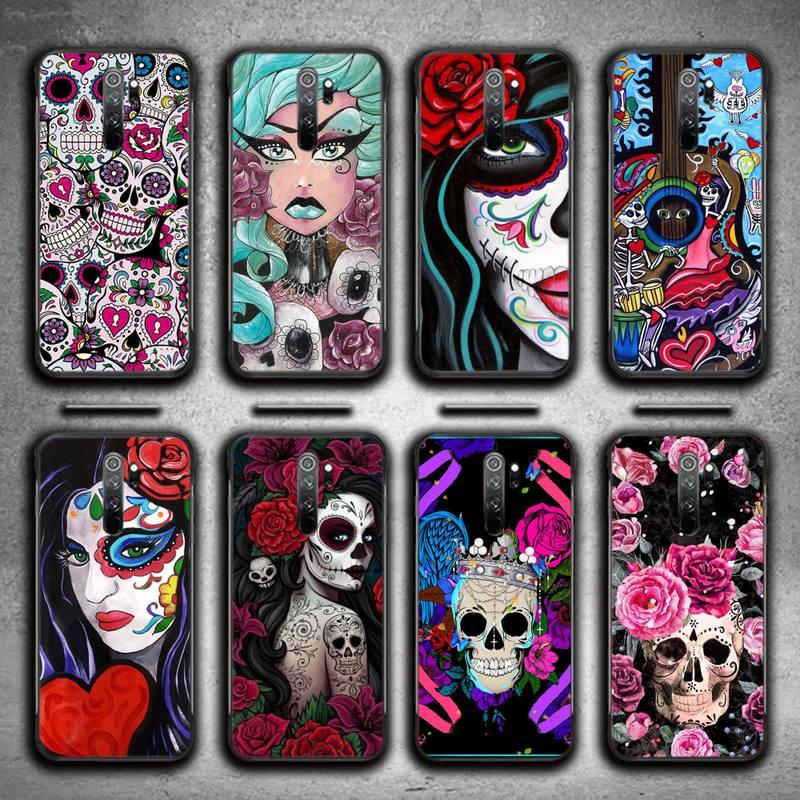 Retro Style Flower Skull Soft Phone Case For Redmi 7 8 9 A K20 30 Pro Note 8 9 Pro 9s