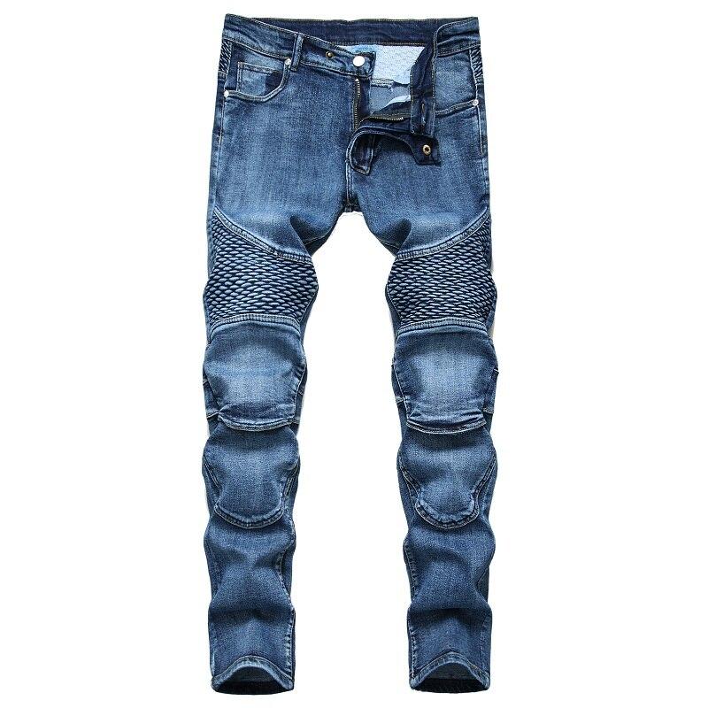 Новинка 2021, модные джинсы, Мужские штаны до колен для езды, ностальгические мотоциклетные джинсы, облегающие Модные мужские модные индивиду...