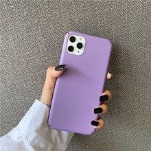 Nette Toon lila Telefon Fall Für iphone 11 Pro Max 6 6s 7 8 plus Zurück Abdeckung Für iphone X XR XS Max Einfarbig Matte Hard Cases
