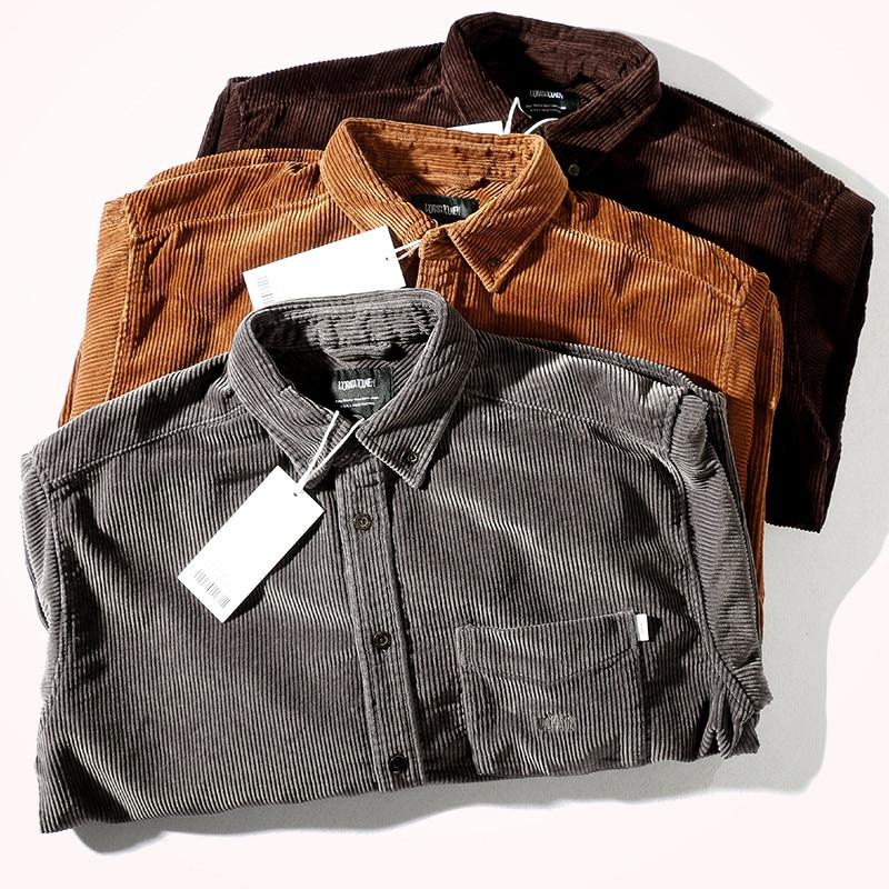 Новинка Осень-зима 2021, Вельветовая утепленная рубашка в японском стиле ретро, Мужская модная Свободная Повседневная блузка из чистого хлоп...
