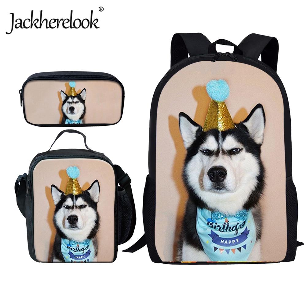 pug dog husky printing backpack for children girls Jackherelook Funny Husky Dog Print School Backpack for Girls Boys Kids Schoolbag Satchel 3pcs/Set Large Bookbag Children Mochila
