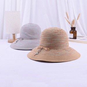 wide brim lady linen hat Summer Foldable Bucket hat Beach UV Protection Round Top Sunscreen Fisherman Cap