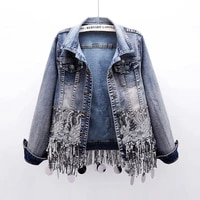 2021 sequins beading tassels hem women jacket coat fashion slim short denim jacket women spring casual outerwear chaqueta mujer