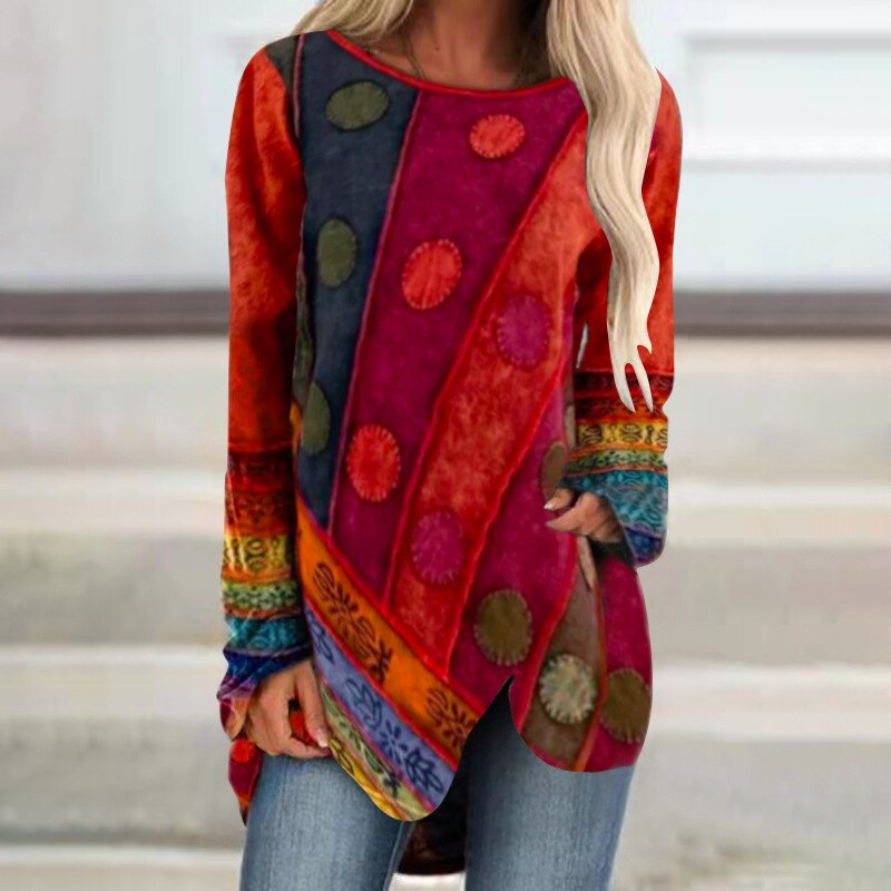 Neue Retro Unregelmäßigen Dot Gedruckt Lange Hülse Frauen T Shirt 2021 Frühling Herbst Beiläufige Lose Große Größe 5XL Streetwear Damen t T-Shirts    -