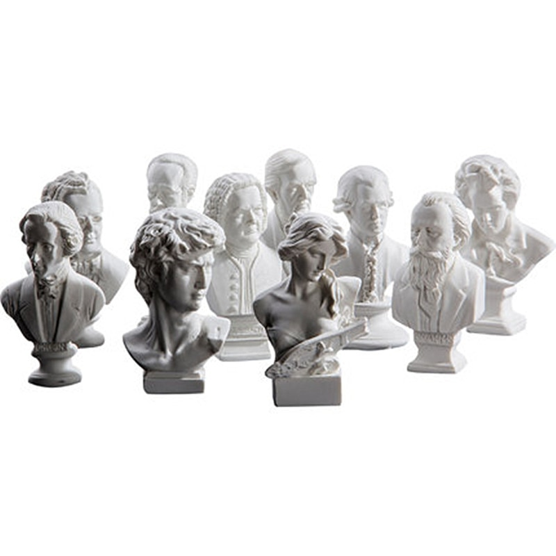 10pcs/set Greek Mythology Small Gypsum David Piano Girl Head Portraits Line Drawing Teaching Aids Bust Art RESIN Ornament M2800