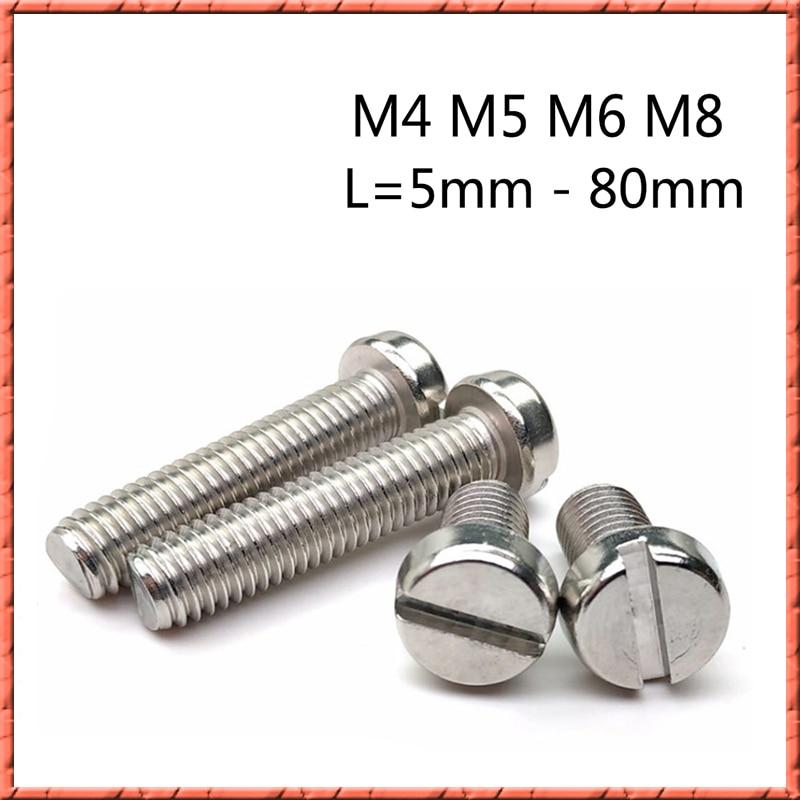 100 pçs/lote DIN85 cilíndrico de aço Inoxidável Com Fenda cheese machine head screw M4/M5/M6/M8 * 5-80 milímetros Slotted parafuso cilíndrico