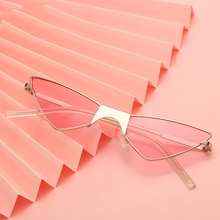 Candy Color Individual Triangle V Shape Sunglasses For Women Girls Unique Cat Eye Metal Frame Sun Gl