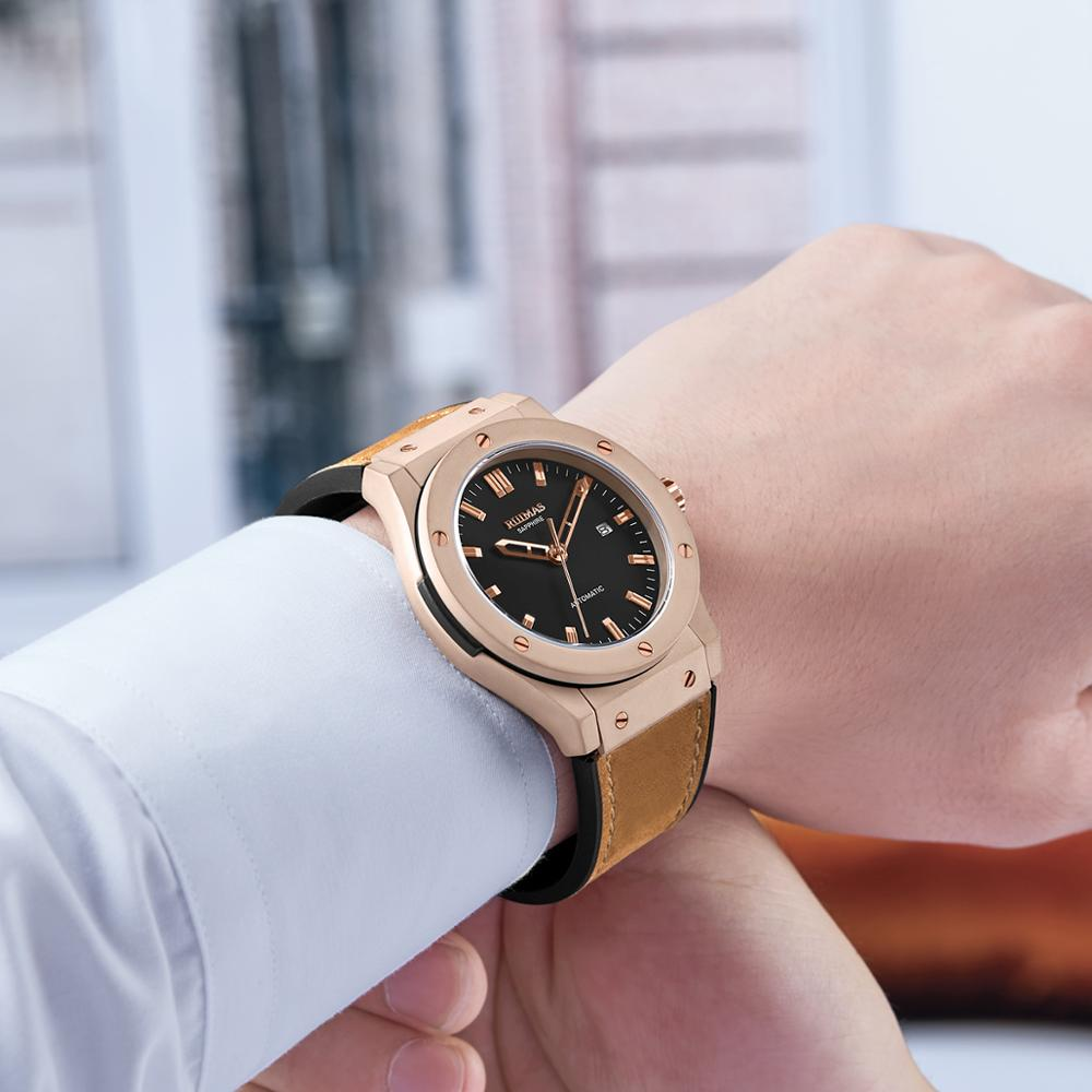 Reloj mecánico automático para hombre RUIMAS, correa de cuero de tendencia, acero inoxidable, reloj de moda impermeable para hombre