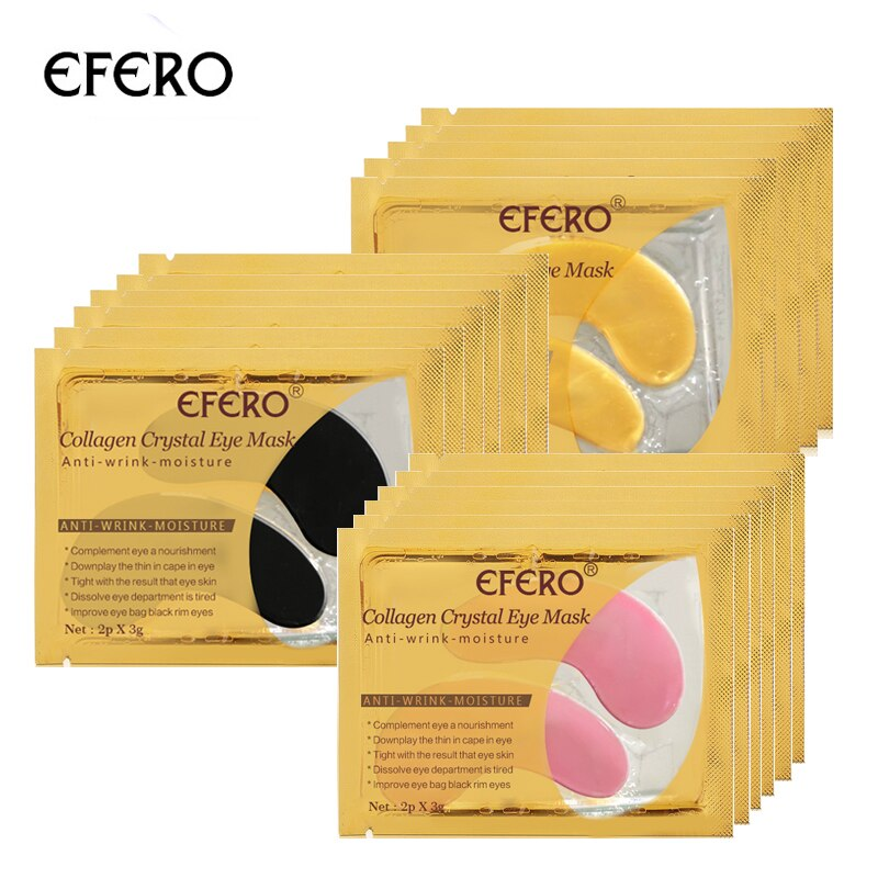 Efero 5 par = 10 pces 24 k ouro soro colágeno máscara de olho anti-envelhecimento anti rugas remover olheiras círculos olho sacos gel colágeno olho remendo