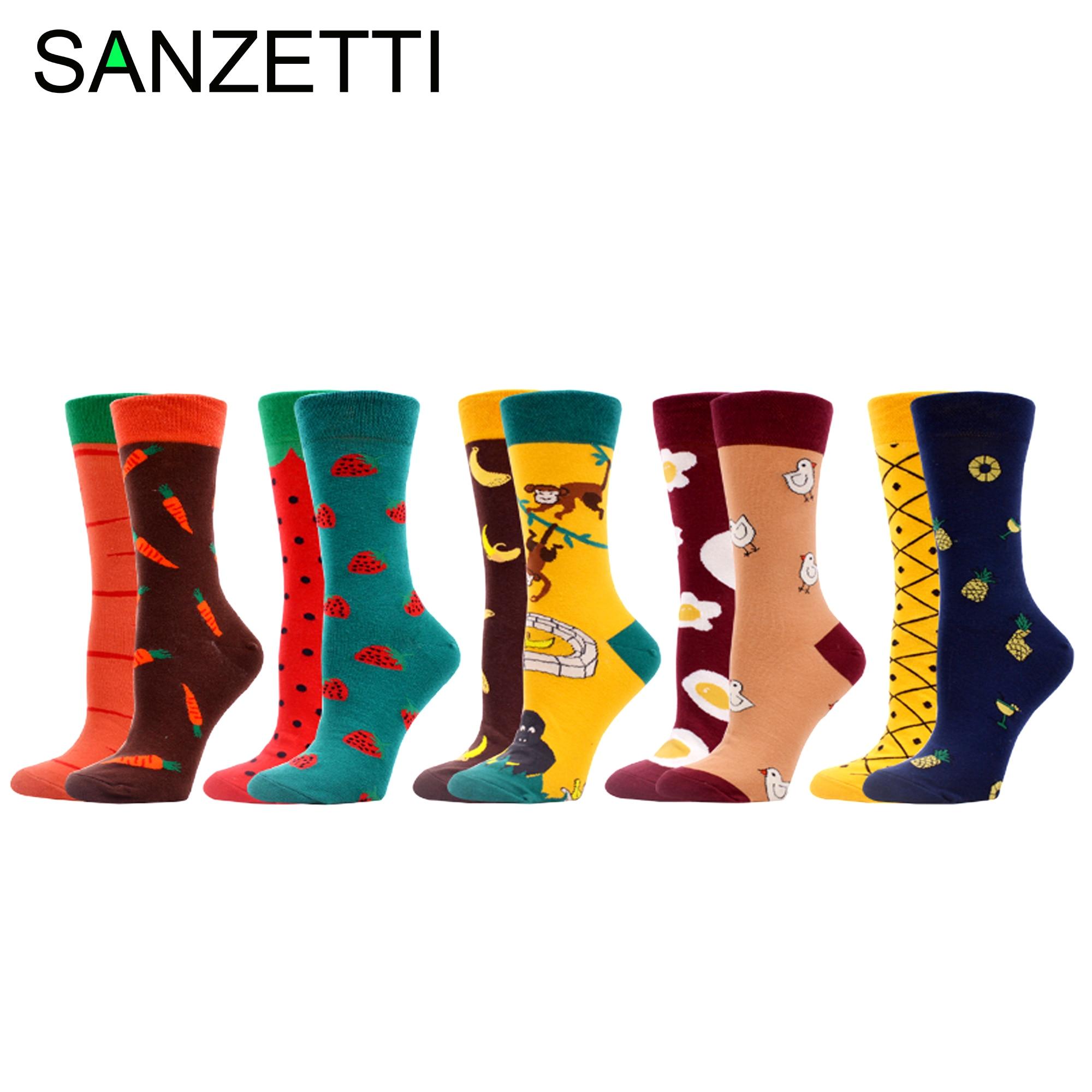 SANZETTI/5 пар женских носков-лодочек Happy Creative Shuangpin, яркие носки с ярким узором в стиле Харадзюку, новинка, носки для свадебного платья