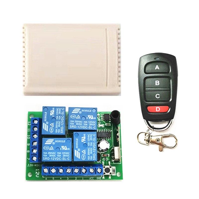 Универсальный беспроводной пульт дистанционного управления, 433 МГц, 12 в пост. Тока, 4 канала, модуль приемника, радиочастотный передатчик, 4 к...