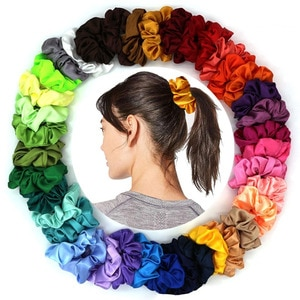 Richkeda Store New 2021 Satin Elastic Hair Bands Scrunch Ponytail Holder Scrunchy Hair Ties Solid Color Women Girls Headwear