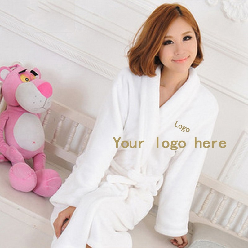 2 unidades de Albornoz de terciopelo de Coral personalizado bordado para hombre, camisón cálido para mujer, Yukata bata de baño larga, ropa de dormir con logotipo bordado personalizado