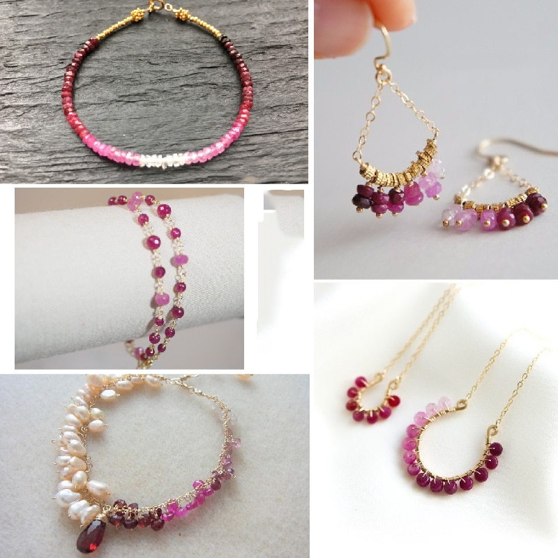 ICNWAY natural 40cm Ruby 2.5-3.6mm  Gemstone Beads Faceted  Roundel for Silver 925 Jewelry Making necklace earring bracelet