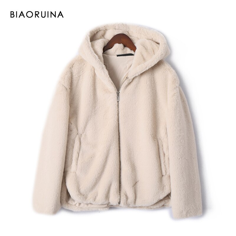 BIAORUINA Women's Solid Loose Faux Fur Warm Hooded Jacket Zippers Female Fashion Winter Coat Girls Casual Comfortable Outerwear
