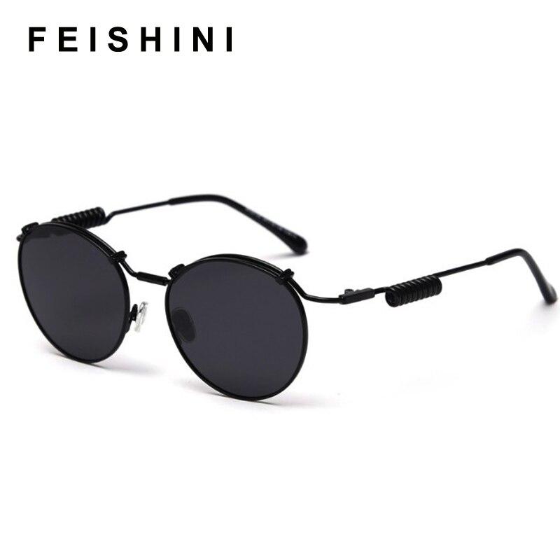 FEISHINI знаменитости овальные женские брендовые солнцезащитные очки поляризационные стимпанк Роскошные Металлические Модные 2020 очки для вож...