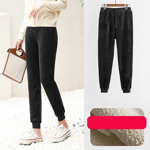 Slim Women Pant Winter Lambskin Pants Warm Female Casual Pants Harem Pants Lined Fleece Trousers Autumn Sweatpants