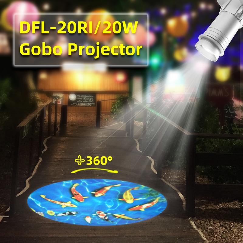 Proyector LED rotativo Gobo para exteriores de 20W, luz de publicidad ligera, proyección impermeable, Logo, proyector publicitario