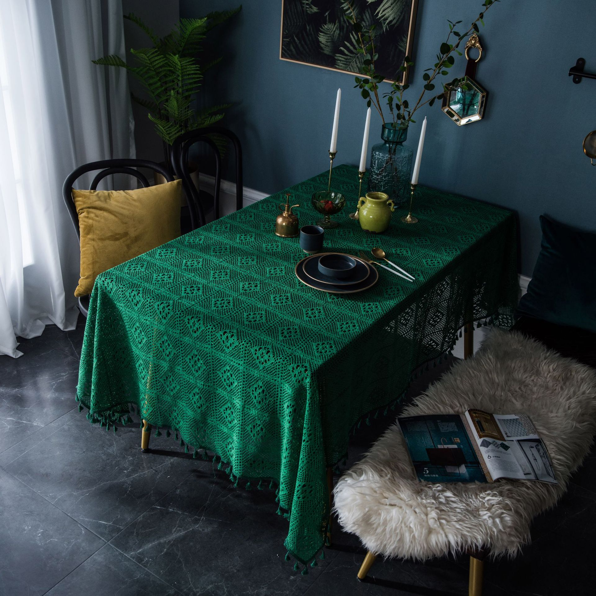 Mantel de ganchillo Vintage SUCSES con borla de punto Hollow America Pastoral mantel Rosa verde oscuro Fondo paño