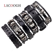 Lacoogh 1Set/5-6PCs Punk Rock Skull Star Leather Bracelets For Men Women Gothic Braided Rope Jewelry Gifts Multi Charm Bracelet
