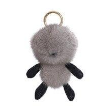 Unisex Bag Accessories Imported Mink Fur Bear Fur Super Cute Happy Bear Bag Charm Car Keychain Gift