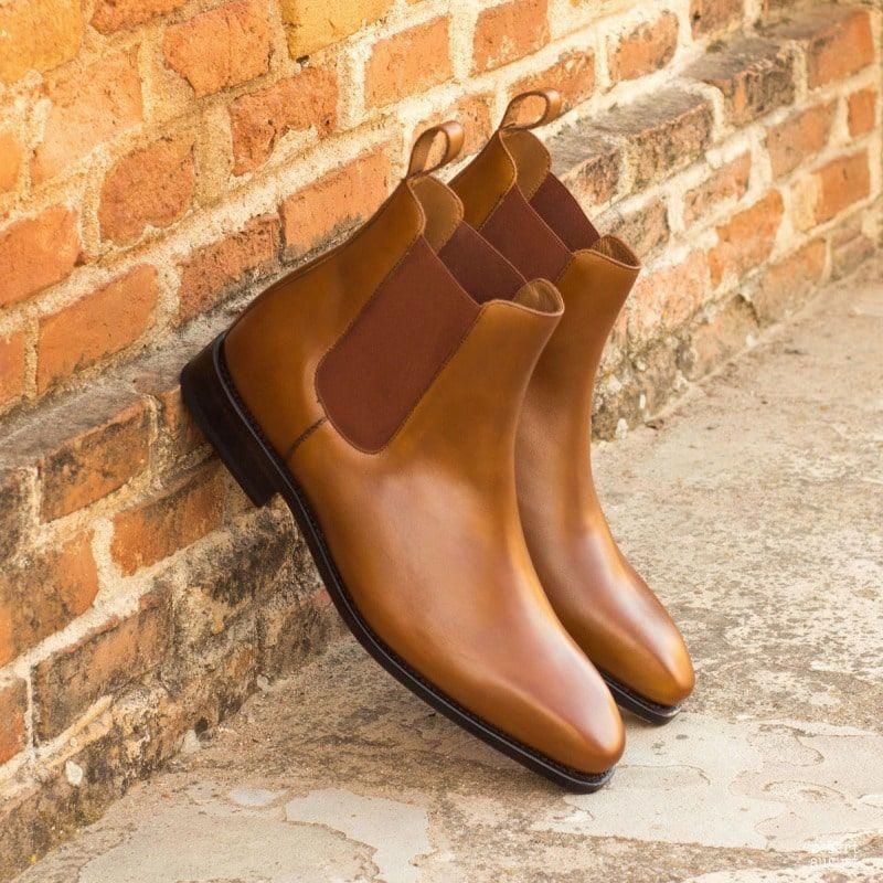 جديد جلد بو للرجال غطاء قدم الكلاسيكية تشيلسي الأحذية البني الشباب موضة البريطانية كاوبوي الأحذية فستان الأعمال الأحذية KP231