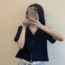 Black V-neck Knitted Cardigan T-shirt Women's Ins Fashionable Loose Short Gentle Top Summer with Hig