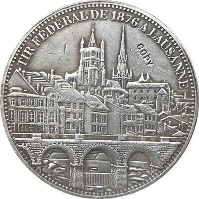 Suiza 5 Franken Shooting Festival 1876 monedas copia