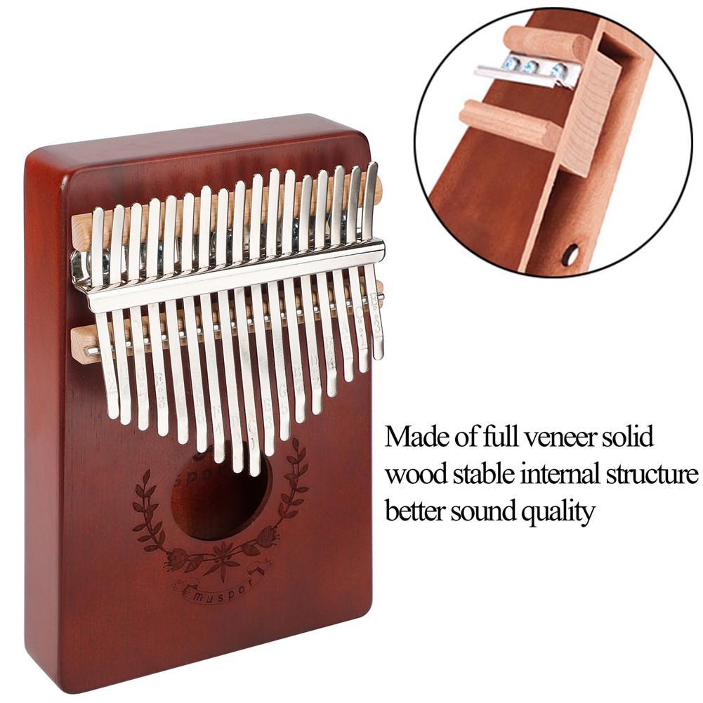 17 Keys Mahogany Kalimba Finger Thumb Piano Mbira Garland Style Thumb Piano Sanza Keyboard Musical Instrument with Tuner Hammer enlarge