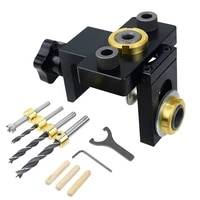 doweling jig pocket hole jig kit wood vertical drilling detachable locator for furniture connecting hole puncher carpentry tools