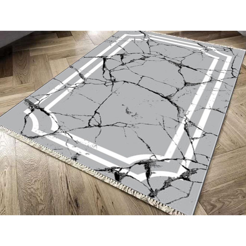 نعل خارجي مقاوم للانزلاق بطباعة رقمية ، سجادة مخملية ، حجر خطي ، رمادي ، 80 × 300 سم