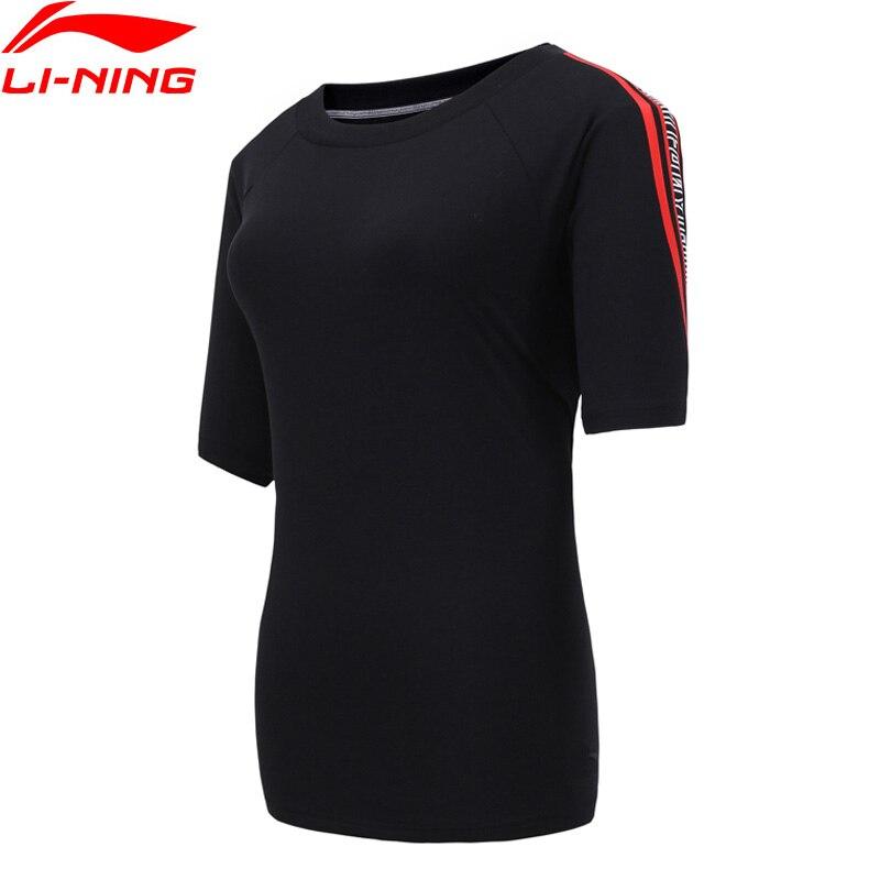 (Código de quebra) li-ning feminino a tendência camiseta 92% algodão 8% elastano solto ajuste forro li ning esportes camisetas ahsn652 wts1467