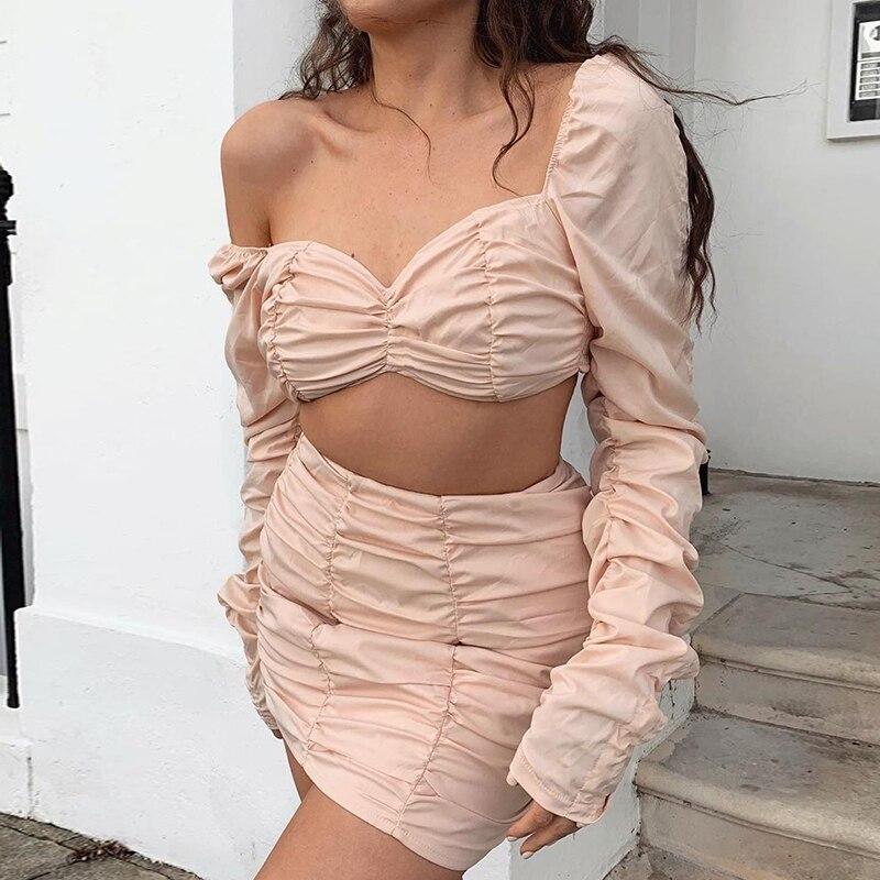 NewAsia, conjunto de dos piezas de dos capas, conjunto de falda con Top corto, conjunto de otoño Sexy para fiesta y Club, trajes de 2 piezas, minifaldas para mujer, conjuntos a juego
