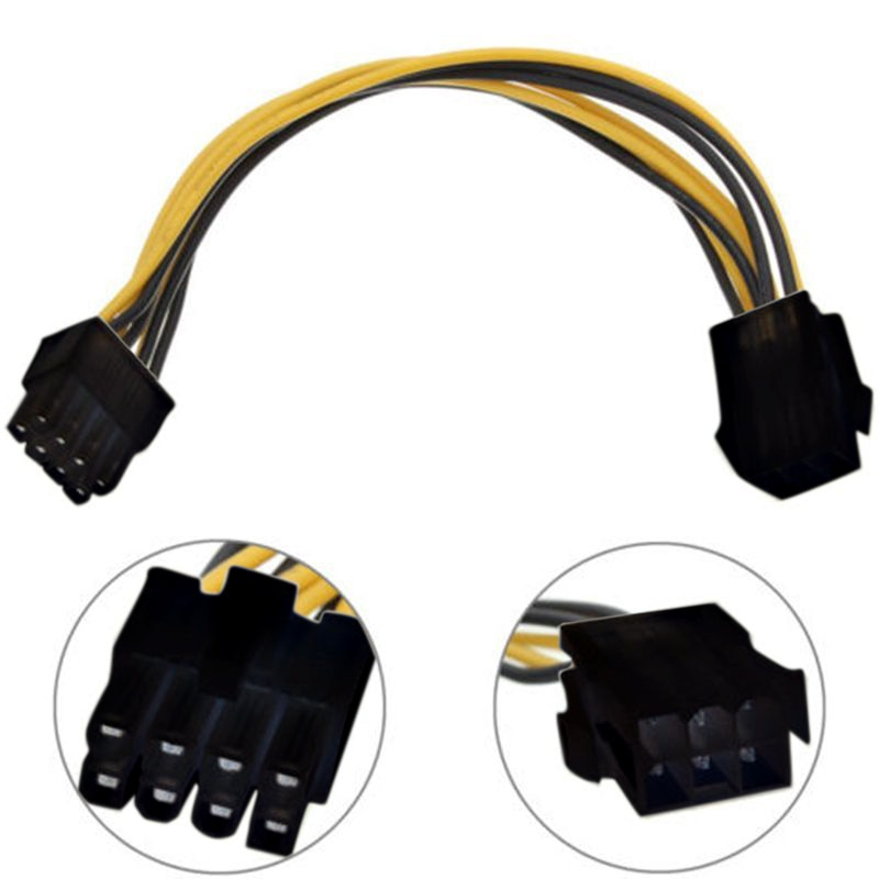 6pin to 2 8pin 6 2 pin for miner molex 6 pin pci e to 2 pcie 8 6 2 pin graphics video card pci e vga splitter hub power cable 1PC 6 Pin Feamle to 8 Pin Male PCI Express Power Converter Cable CPU Video Graphics Card 6Pin to 8Pin PCIE Power Cable