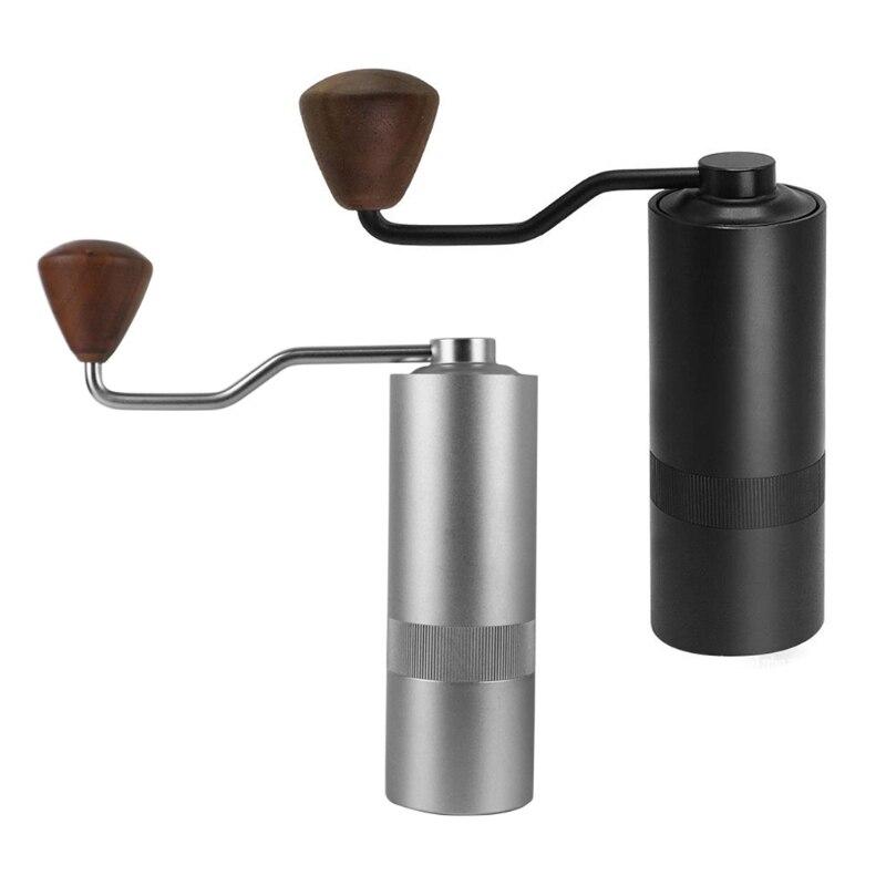 1 قطعة دليل طاحونة القهوة اليد مطحنة القهوة مع لدغ الفولاذ المقاوم للصدأ 12 إعدادات للتعديل المحمولة اليد طاحونة القهوة