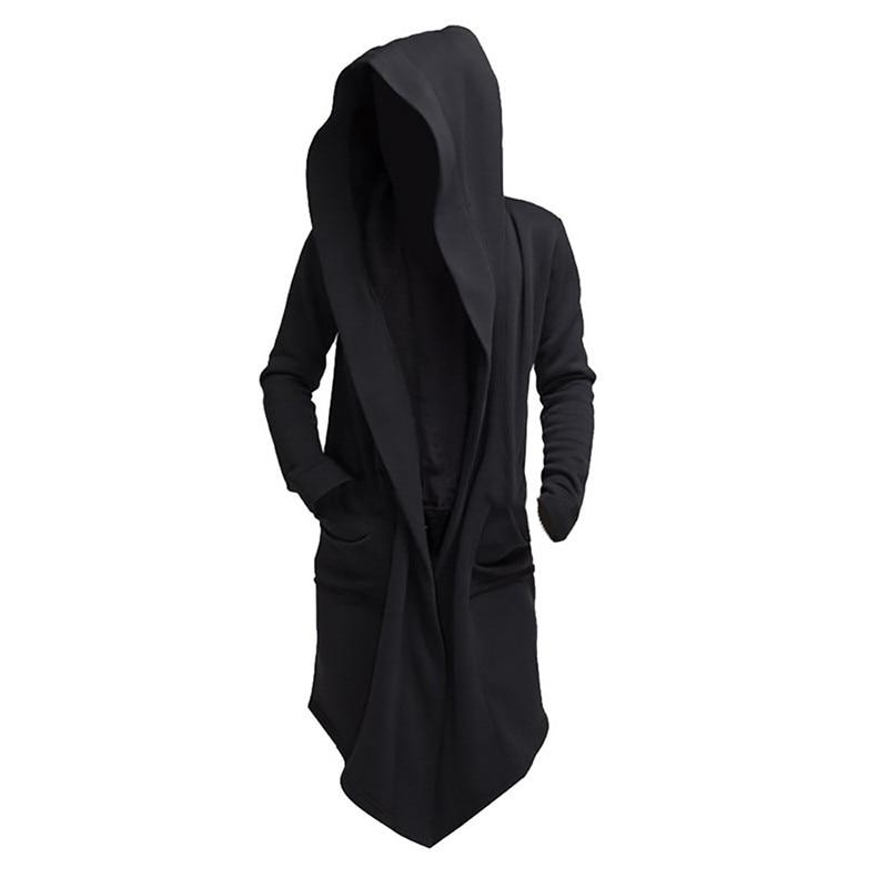 Повседневная плащ с капюшоном, пальто с карманами и капюшоном, накидка с капюшоном, мужские свободные толстовки, длинное однотонное пальто ...