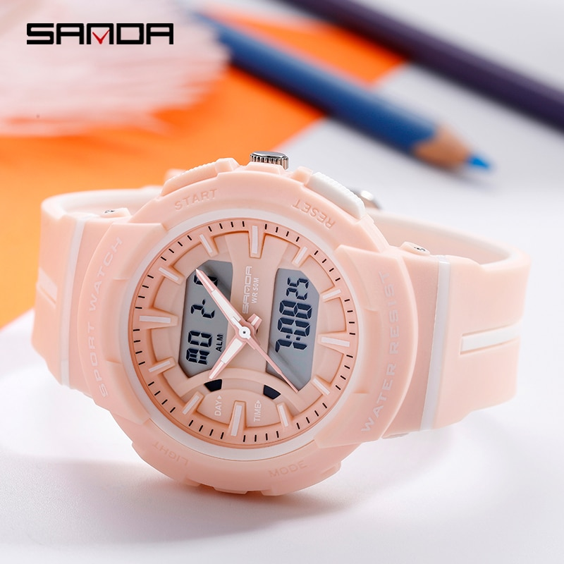 Sanda Sports Digital Watch Leisure Sports Fashion LED Wristwatches Creative 50M Waterproof Chronograph Men and Women Pink Clock enlarge