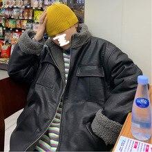 Winter Thick Leather Jacket Men's Warm Fashion Parka Men Solid Color Casual Fur Collar Leather Coat Man Wild Plus Velvet Jacket