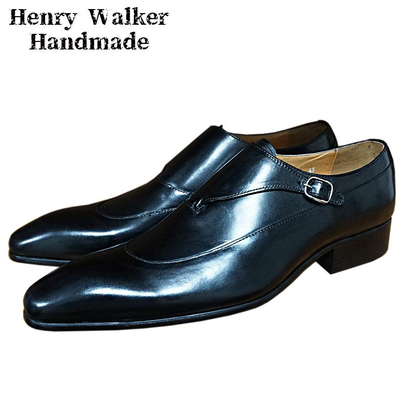 Luxury Men Loafers Shoes Black Coffe Pointed Toe Monk Casual Shoes Leather Men Dress Shoes Business Office Wedding Formal Shoes