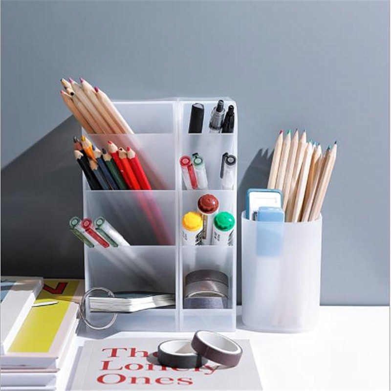 Transparent Scrub Pen Holder Simple Desktop Storage Box Multi-function Office School Supplies Student Stationery Organizer